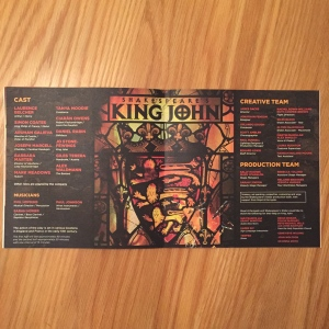 King John cast and creative team